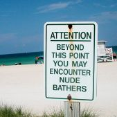 Nude Sunbathers Sign